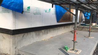 注文住宅の工事中の足場